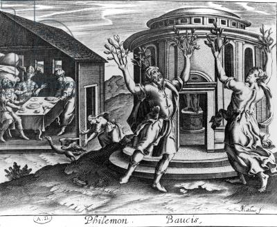 CHT449010 Philemon and Baucis, from an edition of the Metamorphoses of Ovid, published in Paris in 1619, (engraving) by Matheus (Mathieu), Jean (c.1592-1672); Bibliotheque des Arts Decoratifs, Paris, France; (add.info.: Old Couple celebrated for their devotion to each other and for their welcome and hospitality to Jupiter and Mercury disguised as poor travellers; their reward from the gods was to be given the gift of dying at the same time and being transformed into an interwining pair of trees, an oak and a linden;); Archives Charmet; French, out of copyright