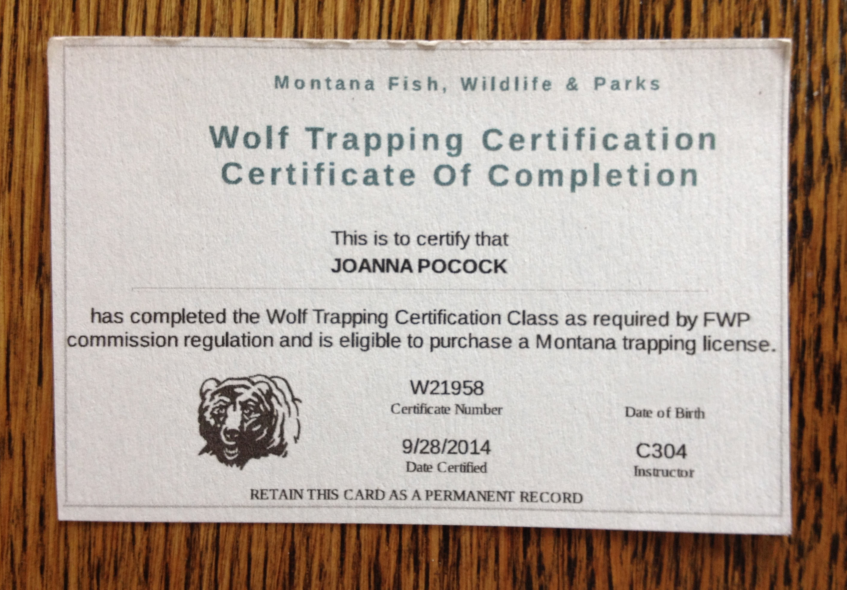 wolf trapping certificate