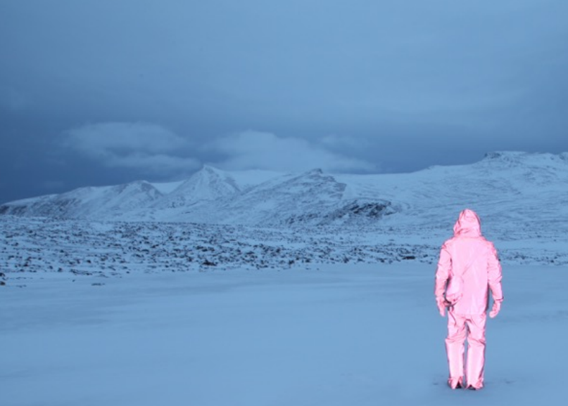 'Pink figure, blue world' by Will Gill