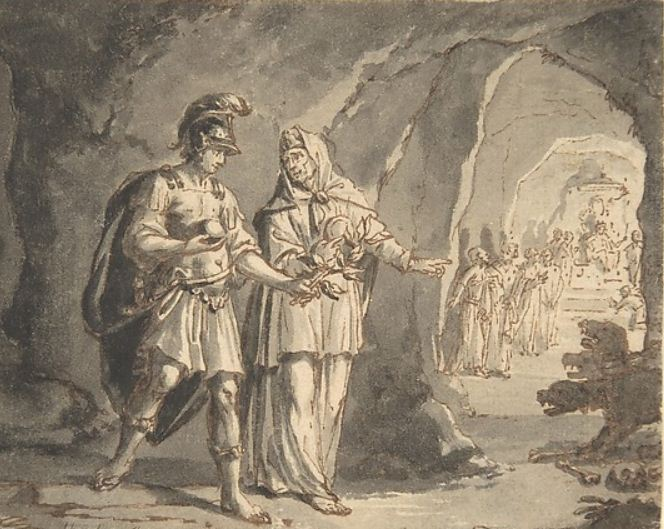 'Aeneas and the Sibyl in the Underworld' by Arnold Houbraken, 1660-1719